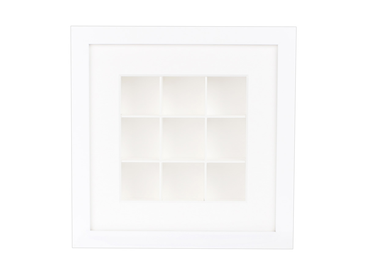 Rahmen Box mit Holzrahmen weiss und Kasten weiss / 9 Fächer