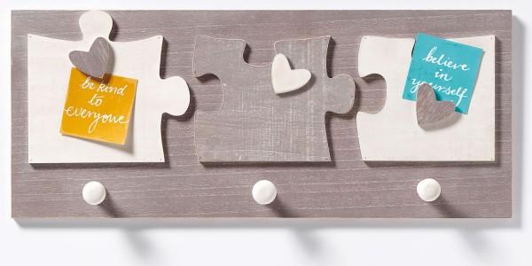 Garderobe Elemento mit herzförmigen Holz-Magneten für 3 Fotos