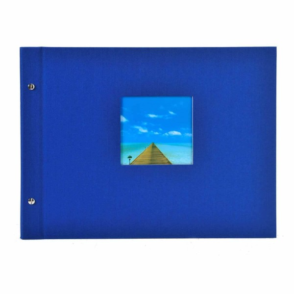 Schraubalbum blau mit schwarzen Seiten