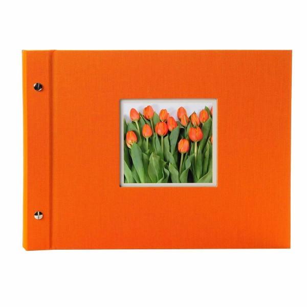 Schraubalbum orange mit schwarzen Seiten
