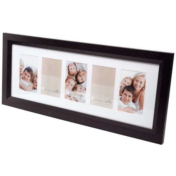 Holz Galerierahmen MILANO inkl. Passepartout - 5x 10x15 cm - schwarz