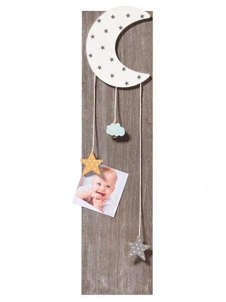 Holz Memoboard STARLET mit Kordelhalterung Mond