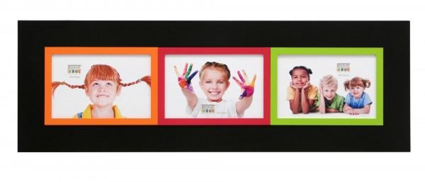 Galerie Bilderrahmen Victor schwarz mit 3 farblichen kleinen Rahmen