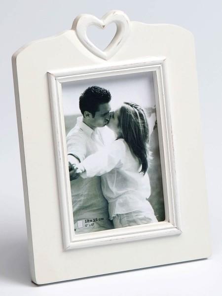 Holz Fotorahmen White Heart - rechteckig für 1 Foto