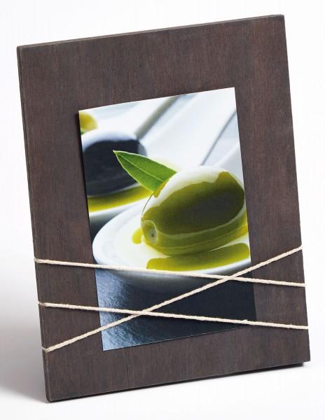 Holz Fotorahmen La Casa für Format 10x15 cm braun/ weiss