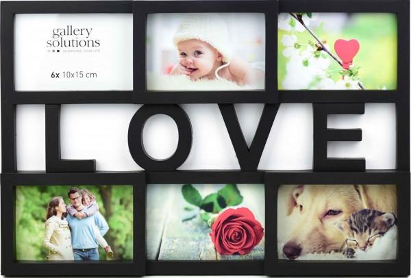 Collagerahmen Love in schwarz für 6 Bilder
