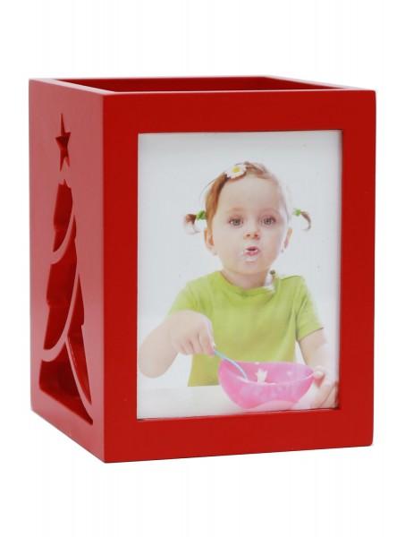 Teelichthalter in rot für 2 Bilder mit Weihnachtsbaummuster
