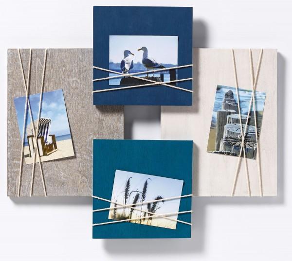Holz Galerierahmen La Casa mit Kordel-Applikation 4x 8x11cm blau/ weiss