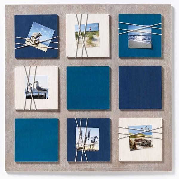 Holz Galerierahmen La Casa mit Kordel-Applikation 6x 8x8 cm blau/ weiss