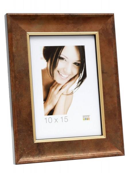 Holz Bilderrahmen Mia braun mit Goldkante - 2er Set