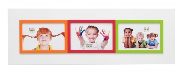 Galerie Bilderrahmen Victor weiss mit 3 farblichen kleinen Rahmen